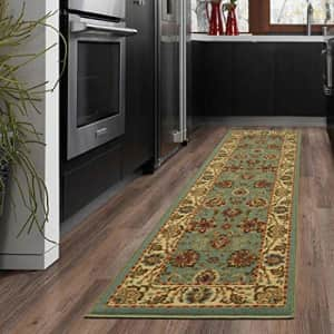 """Ottomanson New Ottohome Collection Style Oriental Sage Green/Aqua Blue Runner (1'10""""x7'0"""") Skid for $23"""