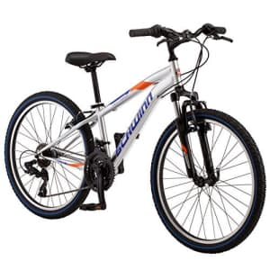 Schwinn High Timber Youth/Adult Mountain Bike, Steel Frame, 24-Inch Wheels, 21-Speed, Silver for $215