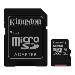 Kingston Digital 128GB microSDXC Class 10 UHS-I 45MB/s Read Card with SD Adapter (SDC10G2/128GB) for $26