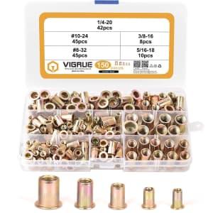 Vigrue 150-Piece Carbon Steel UNC Rivet Nuts Set for $9
