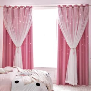 Decdeal Hollowed Out Stars Curtain Panel for $12