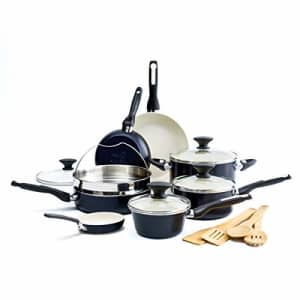 GreenPan Rio Healthy Ceramic Nonstick, Cookware Pots and Pans Set, 16-Piece, Black for $180