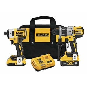 DEWALT 20V MAX XR Cordless Drill Combo Kit, Hammer Drill & Impact Driver, Power Detect Technology for $389