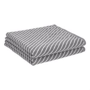 AmazonBasics Reversible Diagonal Stripe Jacquard Bath Towel - 2-Pack, Scenic Snow/Warm Stone for $20