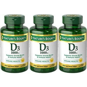 Nature's Bounty Vitamin D3-1000 IU, Rapid Release Softgels, 250 Count (Pack of 3) for $10
