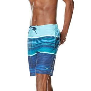 Speedo Men's Swim Trunk Knee Length Boardshort Bondi Printed, Barrier Blue Atoll, Medium for $26