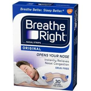 Breathe Right Original Small/Medium Nasal Strips 30-Count Box for $5