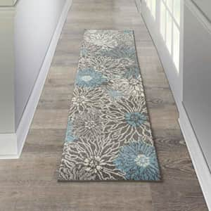 """Nourison Passion Floral Chic Charcoal/Blue Area Rug Runner (2' x 8'), 2'2""""X7'6"""", for $17"""