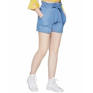BCBGeneration Women's Woven Paper Bag Shorts, Medium Wash, XXS (US 0) for $43