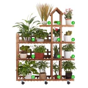 Indoor/Outdoor 4-Tier Wood Plant Stand for $38