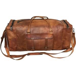 """Cuero 32"""" Leather Weekender Duffel Bag for $85"""