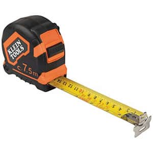 Klein Tools 9375 Measuring Tape, 7.5 m Double-Hook Double-Sided Tape Measure, Magnetic with for $25