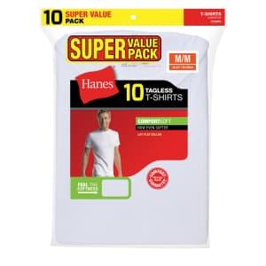 Hanes Men's ComfortSoft Crewneck T-Shirt 10-Pack for $15 in cart