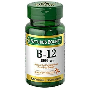 Nature's Bounty Natural Vitamin B12, 1000mcg, 100 Tablets (Pack of 3) for $5