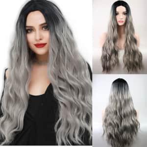 "TopWigy 28"" Wavy Silver Grey Wig for $10"