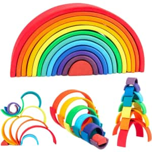 Wood City 12-Piece Rainbow Stacking Toys for $45