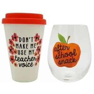 TMD Holdings Teacher Travel Mug and Stemless Wine Glass Set for $10
