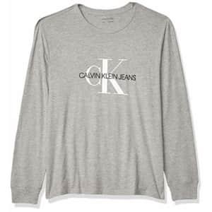 Calvin Klein Men's Long Sleeve Logo T-Shirt, Light Grey Heat, Small for $26