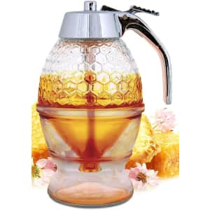 Hunnibi No Drip Glass Honey Dispenser with Stand for $26