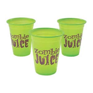 Fun Express Halloween Zombie Juice Cups - Bulk set of 50 Disposable Plastic Cups, each holds 16 oz - Halloween for $15