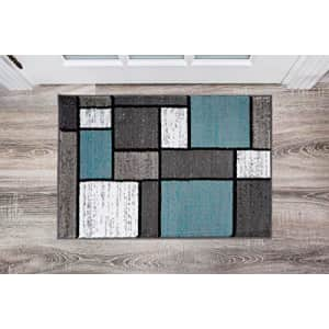 Rugshop Contemporary Modern Boxes Area Rug 2' x 3' Blue/Gray for $36