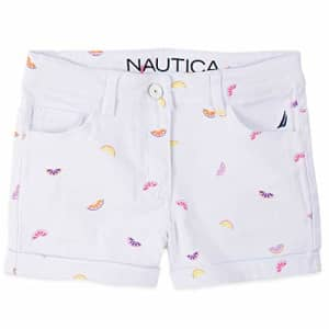 Nautica Girls' Printed Shorts, Citrus White, 2T for $13