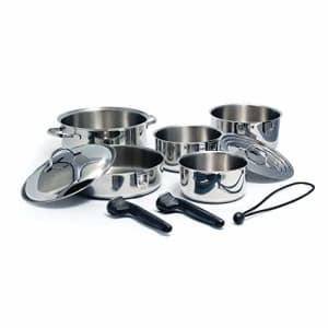 Camco Stainless Steel Nesting Cookware Set- Non Stick Pans and Pots with Removable Handles, Space for $227