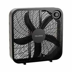 PELONIS PFB50A2ABB-V 3-Speed Box Fan for Full-Force Circulation with Air Conditioner, Black, 2020 for $35