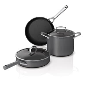Ninja C35000W 5-Piece Cookware Set Foodi NeverStick Premium Hard-Anodized, Gray, Slate Grey for $140