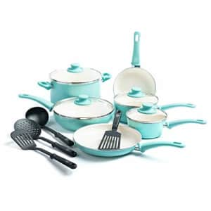 GreenLife Soft Grip Healthy Ceramic Nonstick, Cookware Pots and Pans Set, 14 Piece, Turquoise for $152
