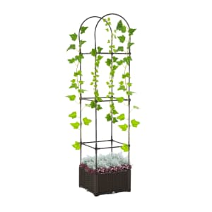 Outsunny Garden Bed and Trellis Plant Stand for $44