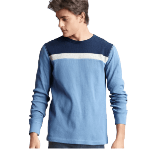 Gap Factory Men's Waffle-Knit Colorblock Crew for $5