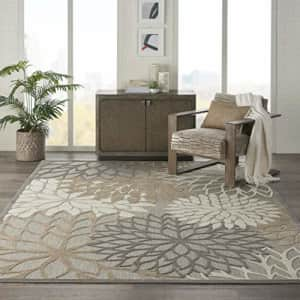 Nourison Aloha Indoor/Outdoor Floral Natural Area Rug (7' x 10'), 7'X10', for $38
