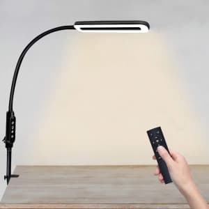 XZN LED Gooseneck Desk Lamp with Clamp for $34