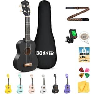 """Donner 21"""" Soprano Ukulele Beginners Kit for $35"""