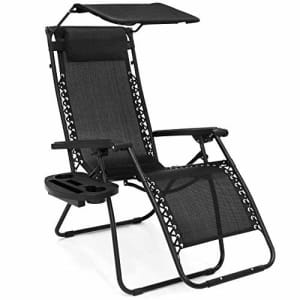Best Choice Products Folding Zero Gravity Outdoor Recliner Patio Lounge Chair w/Adjustable Canopy for $139