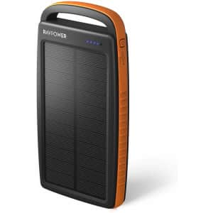 RAVPower 20,000mAh Solar Portable Power Bank for $19