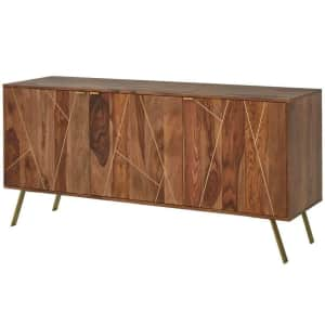"""Home Decorators Collection 63"""" Metal Inlay Solid Hardwood Storage Buffet Table for $431"""