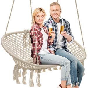 Sorbus Hammock Chair Macrame Hanging Swing Bench, Perfect for Indoor, Outdoor, Teens Girl Bedroom, for $130