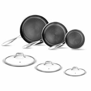 NutriChef 6-Piece Cookware Set Stainless Steel - Triply Kitchenware Pans Set Kitchen Cookware w/ DAKIN for $127