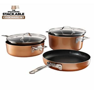 Gotham Steel Stackable Pots and Pans Set Stackmaster 5 Piece Cookware Set with Ultra Nonstick Cast for $66
