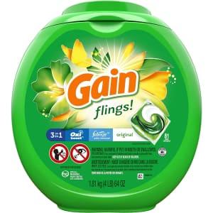 Gain Flings! 81-Ct. Liquid Laundry Detergent Pacs for $20