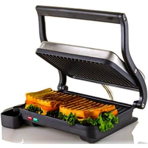 Ovente Electric Indoor Panini Press Grill with Non-Stick Double Flat Cooking Plate & Removable Drip for $40