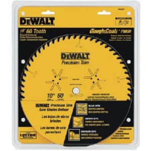 DEWALT 10-Inch Miter / Table Saw Blade, ATB, Crosscutting, 5/8-Inch Arbor, Tough Coat, 60-Tooth for $30