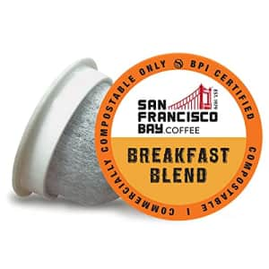 SF Bay Coffee OneCUP Breakfast Blend 80 Ct Medium Roast Compostable Coffee Pods, K Cup Compatible for $46