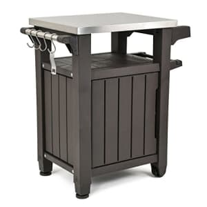 Keter Unity Portable Outdoor Table and Storage Cabinet with Hooks for Grill Accessories-Stainless for $340