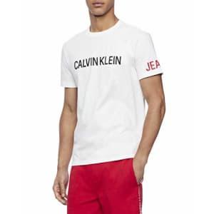 Calvin Klein Men's Brand Traveling Logo T-Shirt, Brilliant White, Large for $20