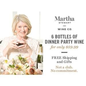 Martha Stewart Wine Dinner Party 6-Pack for $60 + free corkscrew