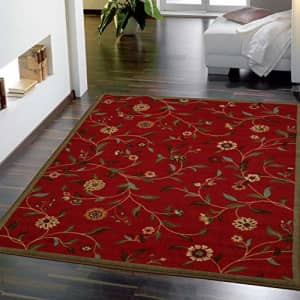 """Ottomanson Area Rug, 3'3"""" X 5'0"""", Red Floral for $23"""