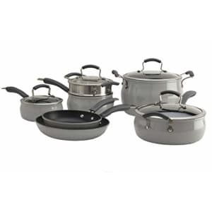 Epicurious Cookware Collection- Dishwasher Safe Oven Safe, Nonstick Aluminum 11 Piece Drizzle Grey for $271
